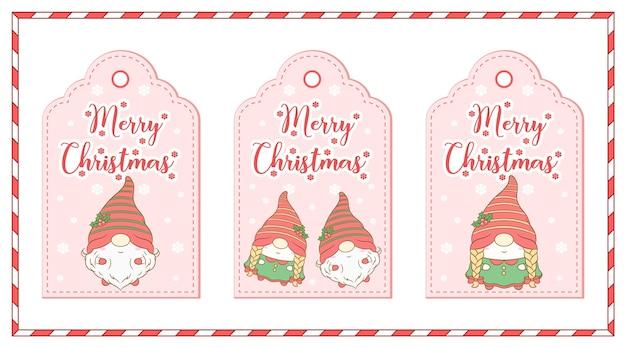 Wesołych świąt bożego narodzenia słodkie gnome rysunek zestaw tagów prezent