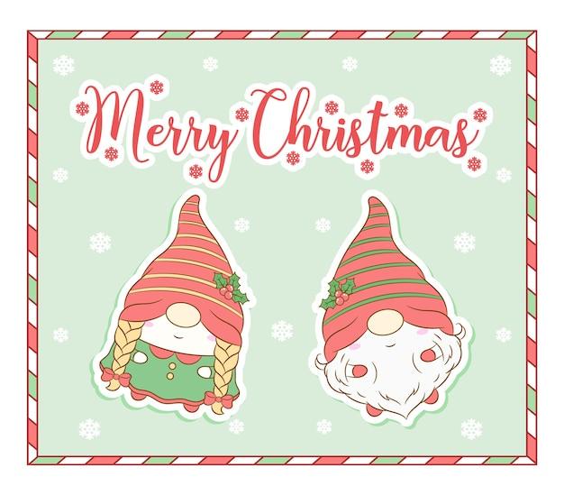Wesołych świąt bożego narodzenia słodkie krasnale rysunek karty z ramą