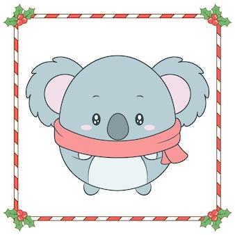 Wesołych świąt bożego narodzenia słodkie zwierzę rysunek z czerwoną ramą jagód i cukierków