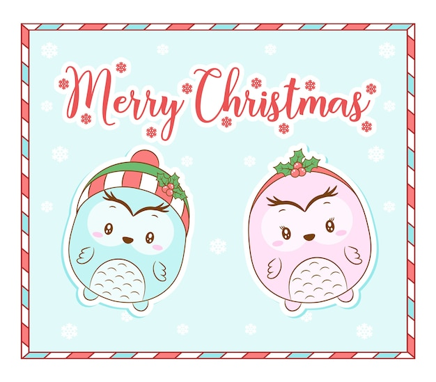 Wesołych świąt bożego narodzenia słodkie zwierzę z czerwoną jagodą kartkę z płatkiem śniegu
