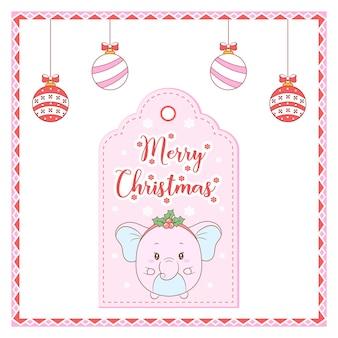 Wesołych świąt bożego narodzenia słodkie zwierzę z tagiem karty rysunku czerwone jagody