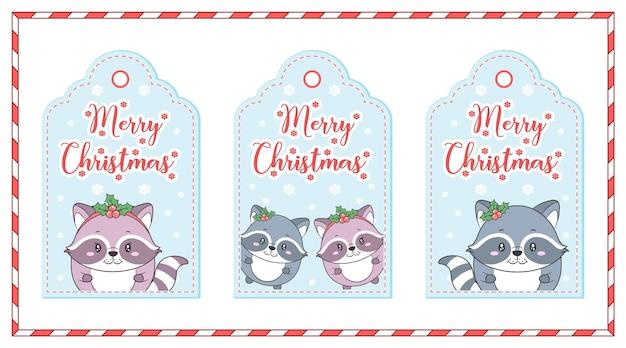Wesołych świąt bożego narodzenia słodkie zwierzęta rysują karty z tagami z ramką płatka śniegu i cukierków