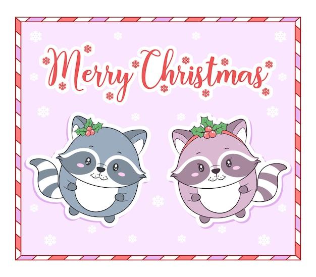 Wesołych świąt bożego narodzenia słodkie zwierzęta rysunek tag karty z ramką cukierków