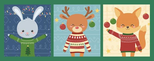 Wesołych świąt bożego narodzenia słodkie zwierzęta z brzydkimi swetrami