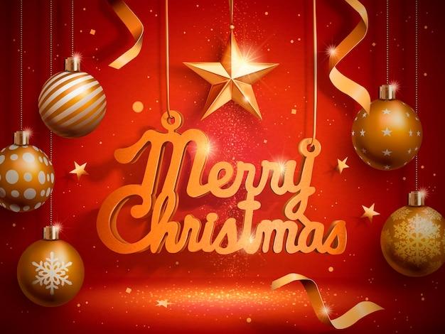 Wesołych świąt bożego narodzenia słowa wiszące ze złotymi bombkami