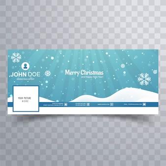 Wesołych świąt bożego narodzenia śnieżynka z banerem facebook