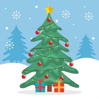 Wesołych świąt bożego narodzenia sosna z prezentami i płatkami śniegu