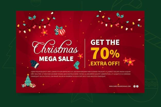 Wesołych świąt bożego narodzenia sprzedaż banner szablon sieci web