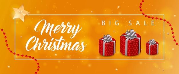 Wesołych świąt bożego narodzenia sprzedaż napis, prezenty
