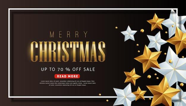 Wesołych świąt bożego narodzenia sprzedaż tło ozdobione gwiazdami złota i srebra.