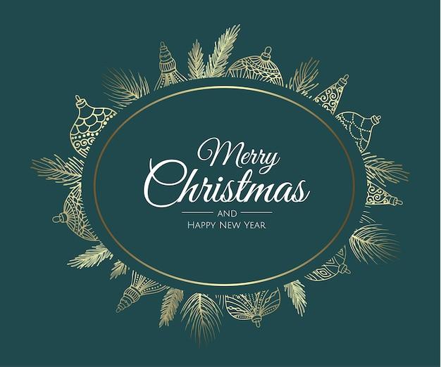 Wesołych świąt bożego narodzenia streszczenie karty z ramą. świąteczna wyprzedaż, świąteczny baner internetowy.