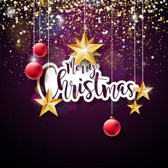 Wesołych świąt bożego narodzenia strony napis ilustracja z papieru etykiety i czerwone ozdobne szklane kule na ciemnym tle fioletowym
