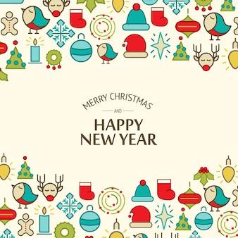 Wesołych świąt bożego narodzenia światło obchodzi tło z tekstem pozdrowienia i kolorowych ilustracji wektorowych elementów bożego narodzenia
