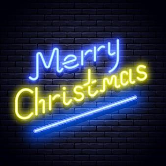 Wesołych świąt bożego narodzenia świecący neon niebieski i żółty szyld na ścianie z cegły. ilustracja.