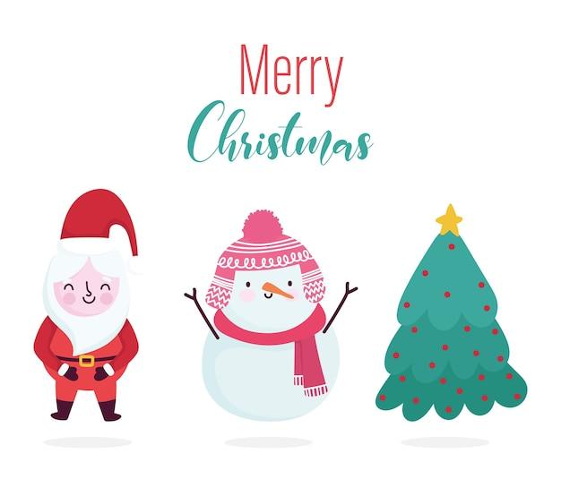 Wesołych świąt bożego narodzenia, świętego mikołaja bałwana i karty dekoracji drzewa na powitanie ilustracja