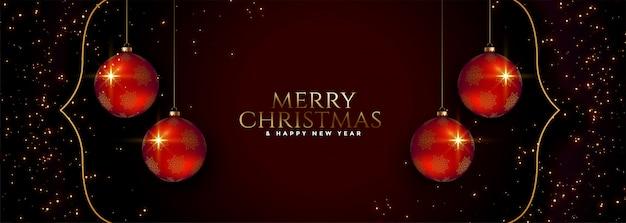 Wesołych świąt bożego narodzenia święto transparent z czerwonymi kulkami