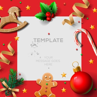 Wesołych świąt bożego narodzenia szablon świąteczny z piernikami i świątecznymi dekoracjami