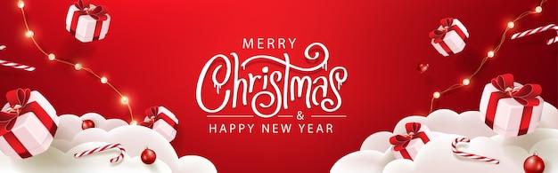 Wesołych świąt bożego narodzenia szablon transparent z świąteczną dekoracją na boże narodzenie