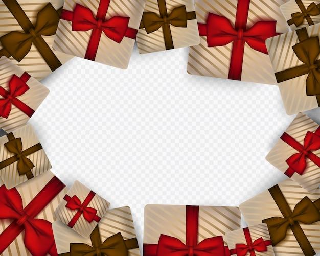 Wesołych świąt bożego narodzenia szablon z realistyczne pudełko.