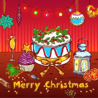 Wesołych świąt bożego narodzenia szkic karty