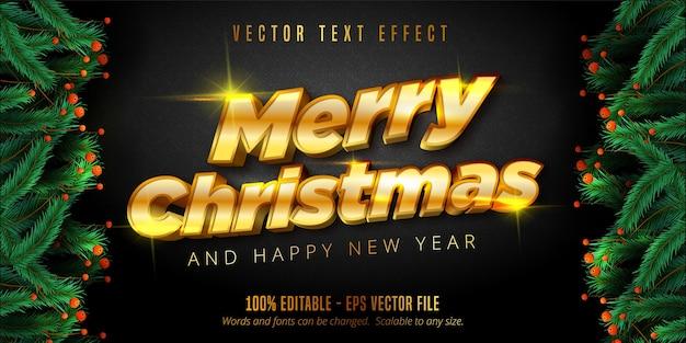 Wesołych świąt bożego narodzenia tekst, błyszczący efekt edytowalnego tekstu w stylu złotych świąt