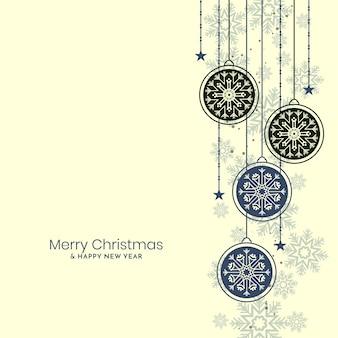 Wesołych świąt bożego narodzenia tło dekoracyjne bombki