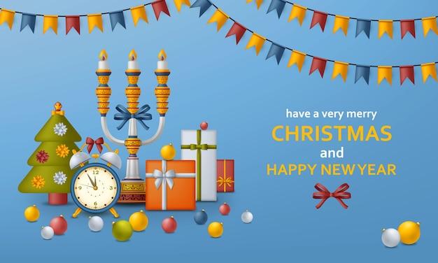 Wesołych świąt bożego narodzenia tło i szczęśliwego nowego roku złote kule, pudełka na prezenty i budzik
