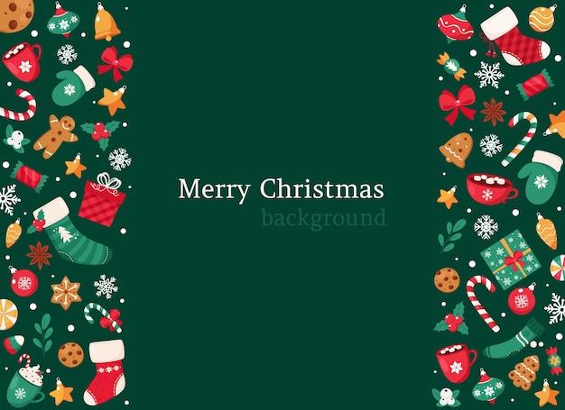 Wesołych świąt bożego narodzenia tło. kolekcja elementów świątecznych.