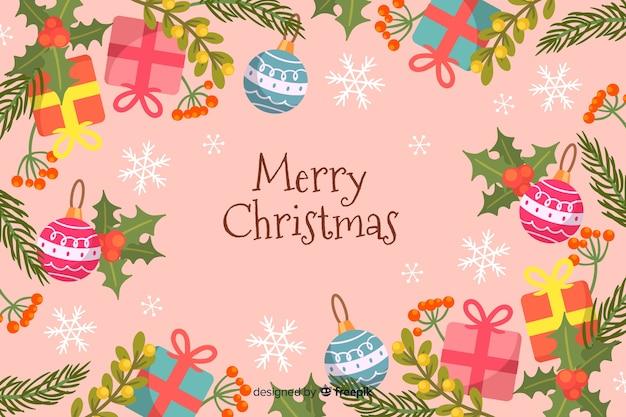 Wesołych świąt bożego narodzenia tło ręcznie rysowane stylu