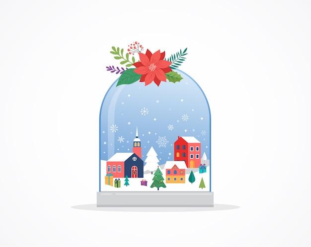 Wesołych świąt bożego narodzenia tło, sceny z zimowej krainy czarów w śnieżnej kuli ziemskiej,