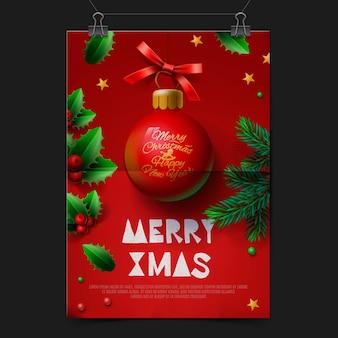 Wesołych świąt bożego narodzenia tło uroczysty z piłką christmas decoration