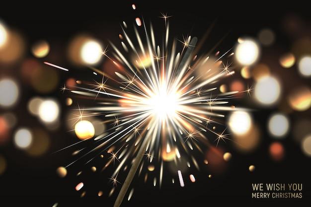 Wesołych świąt bożego narodzenia tło z brylantem i efekty świetlne