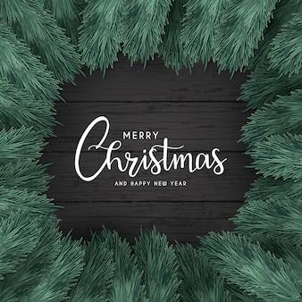 Wesołych świąt bożego narodzenia tło z czarnym drewnem