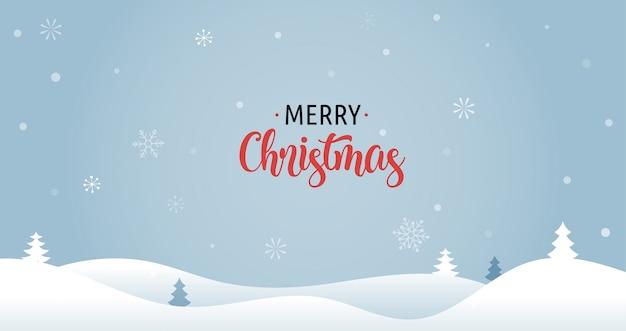 Wesołych świąt bożego narodzenia tło z drzewami xmas i śniegiem