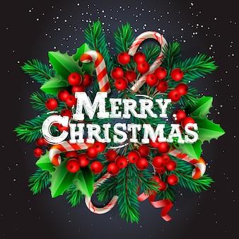Wesołych świąt bożego narodzenia tło z elementami świątecznymi, wieniec z gałęzi sosny, laska cukrowa, święta jagoda. ilustracja do kart okolicznościowych, nagłówków, strony internetowej. obiekty oglądane z góry.