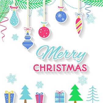 Wesołych świąt bożego narodzenia tło z jodły, kulki, gwiazdy, chorągiew. płaska konstrukcja.