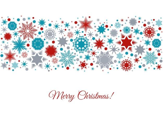 Wesołych świąt bożego narodzenia tło z kolorowe wakacje wzór z elementów świątecznych płatki śniegu i dekoracje