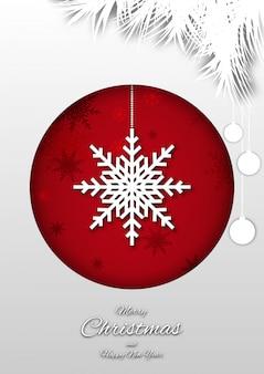 Wesołych świąt bożego narodzenia tło z kompozycji w stylu cięcia papieru.