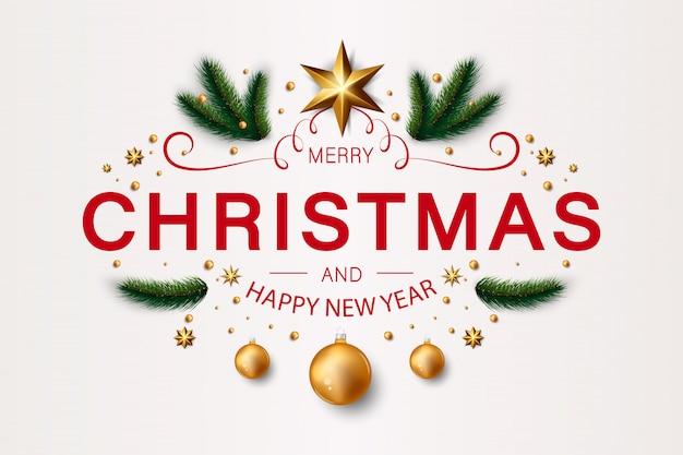 Wesołych świąt bożego narodzenia tło z kulkami i gałęzi