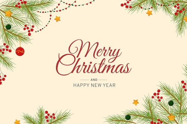 Wesołych świąt bożego narodzenia tło z liści sosny i blichtr