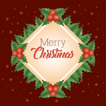 Wesołych świąt bożego narodzenia tło z liści wieniec