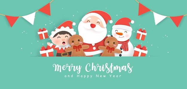 Wesołych świąt bożego narodzenia tło z mikołajem i przyjaciółmi.