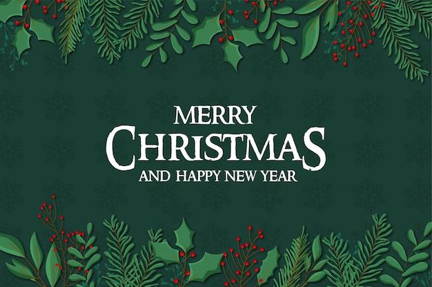Wesołych świąt bożego narodzenia tło z płaską konstrukcją