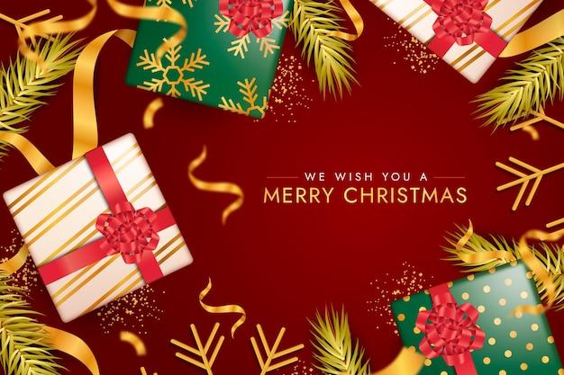 Wesołych świąt bożego narodzenia tło z prezentami