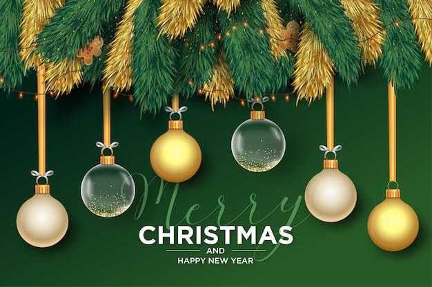 Wesołych świąt bożego narodzenia tło z ramą realistyczne kulki