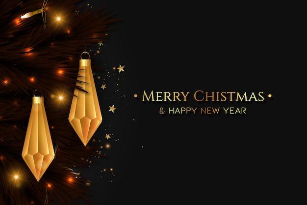 Wesołych świąt bożego narodzenia tło z realistycznymi elementami bożego narodzenia