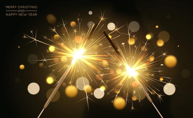 Wesołych świąt bożego narodzenia tło z realistycznymi sparklers