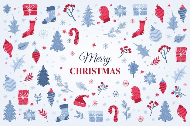 Wesołych świąt bożego narodzenia tło z ręcznie rysowane skład elementów świątecznych