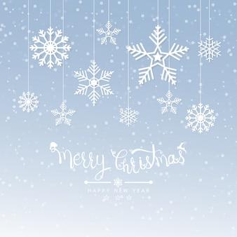Wesołych świąt bożego narodzenia tło z śniegu na wakacje