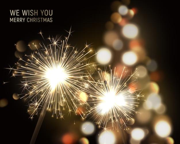 Wesołych świąt bożego narodzenia tło z sparklers i efekty świetlne